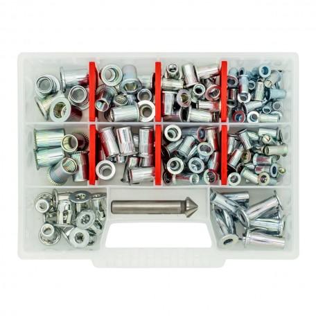 Набор резьбовых заклепок GOEBEL M5-M10 из оцинкованной стали Professional (170 шт + зенкер)