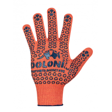 Перчатки трикотажные оранжевые с синим ПВХ-рисунком