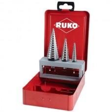 Набор ступенчатых свёрл с тремя режущими кромками RUKO в металлическом кейсе