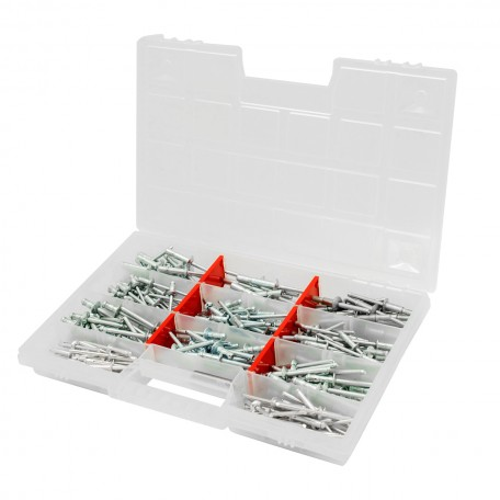 Набор вытяжных усиленных заклепок GOEBEL Ø 4,8-6,4 мм Lock Max (225 шт + 2 сверла)