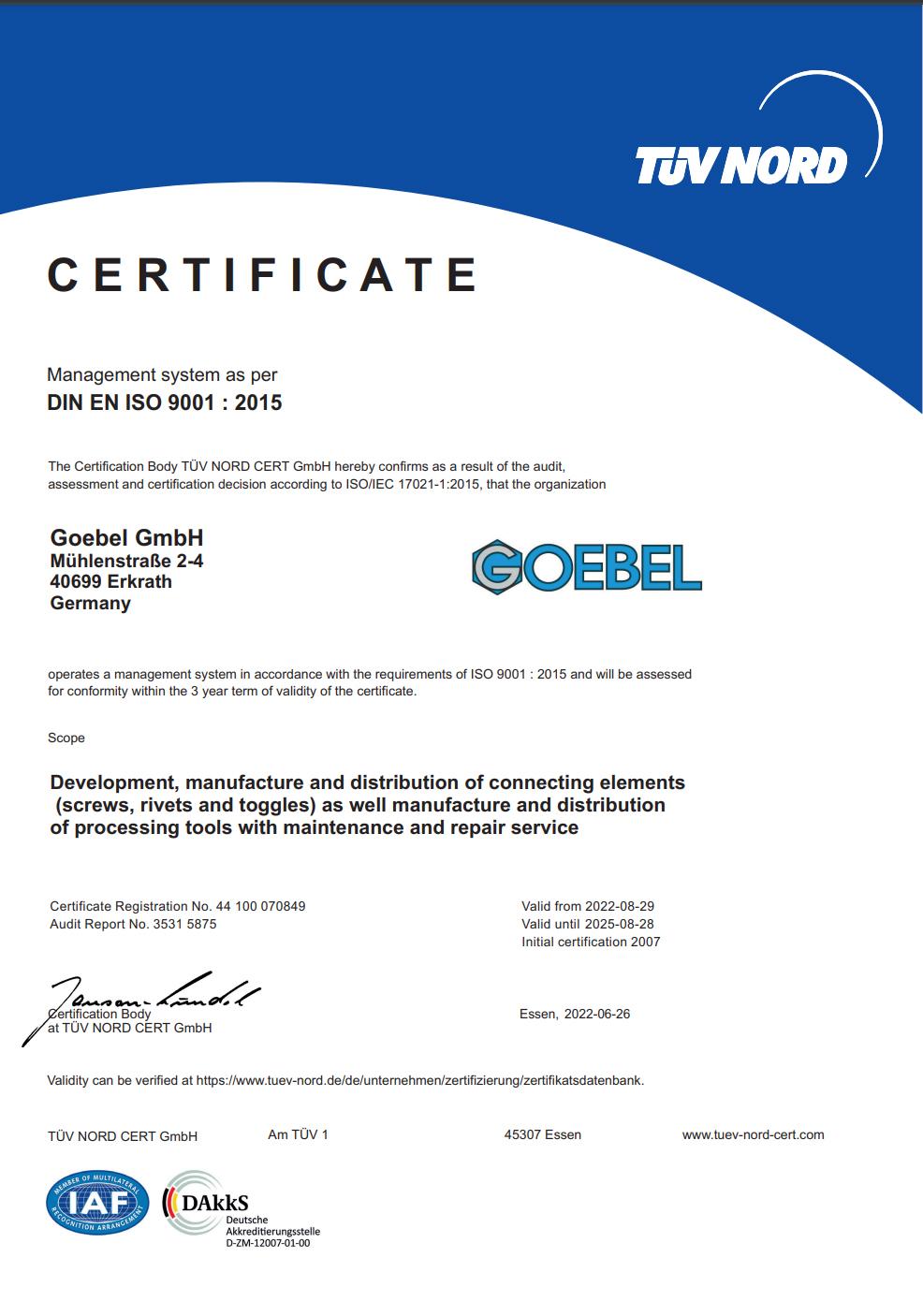 СЕРТИФИКАТ DIN EN ISO 9001 : 2015 TUV NORD
