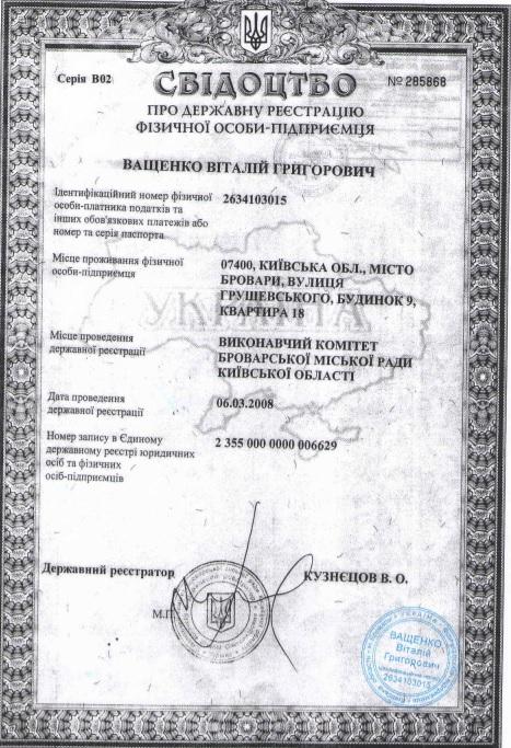 СВИДЕТЕЛЬСТВО О государственной регистрации физического лица-предпринимателя