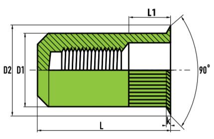 Заклепочная гайка закрытая с малым потайным буртиком