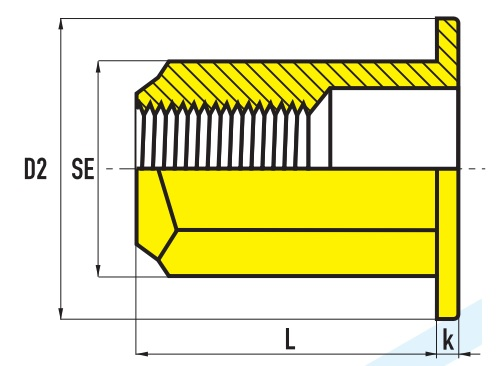 Заклепочная гайка шестигранная с плоским буртиком