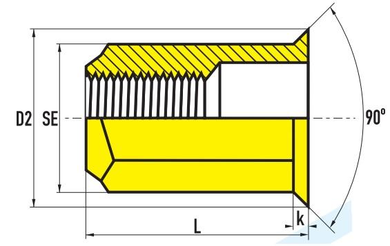 Заклепочная гайка шестигранная с малым потайным буртиком
