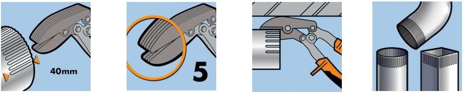 Гофроножницы EDMA угловые, 5 лезвий