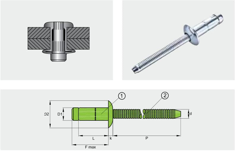 Заклепка отрывная усиленная PREMIUM-LOCK; Материал: нержавейка / нержавейка; Головка: плоская
