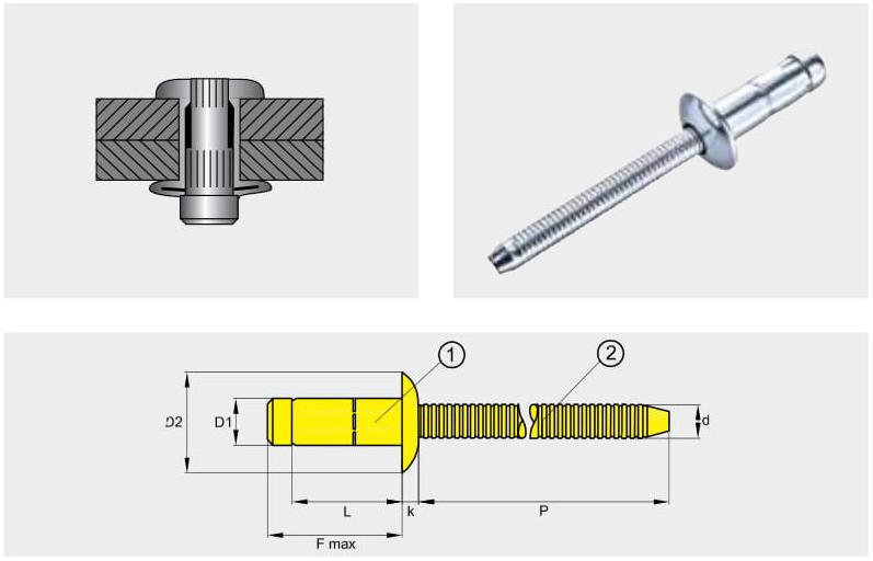 Заклепка отрывная усиленная PREMIUM-LOCK; Материал: сталь / сталь; Головка: плоская