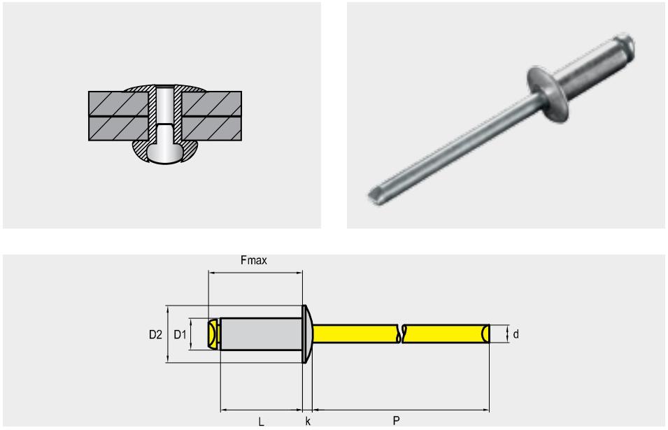 Заклепка отрывная STANDART, материал: алюминий / сталь