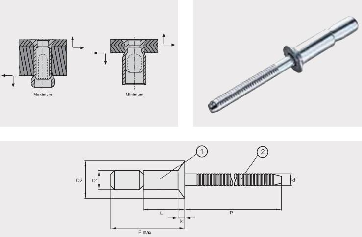 Заклепка отрывная усиленная GO-LOCK; Материал: алюминий / алюминий; Головка: потай