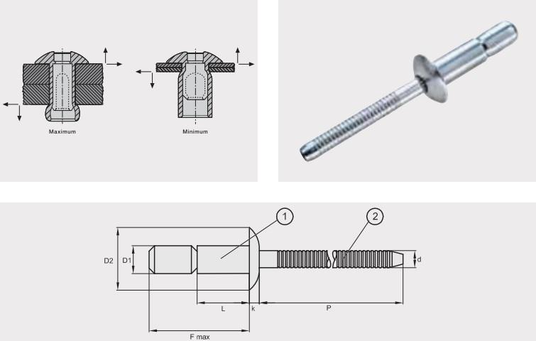 Заклепка отрывная усиленная GO-LOCK; Материал: алюминий / алюминий; Головка: плоская