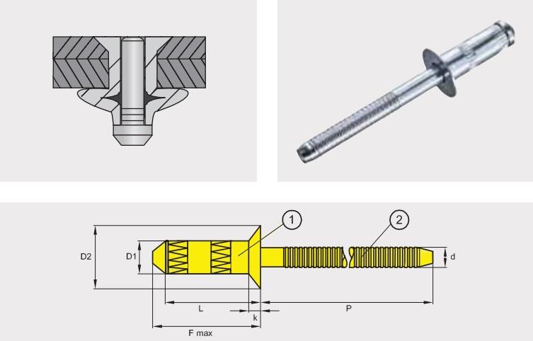 Заклепка отрывная усиленная GO-BULB / GO-INOX; Материал: сталь / сталь; Head: потай