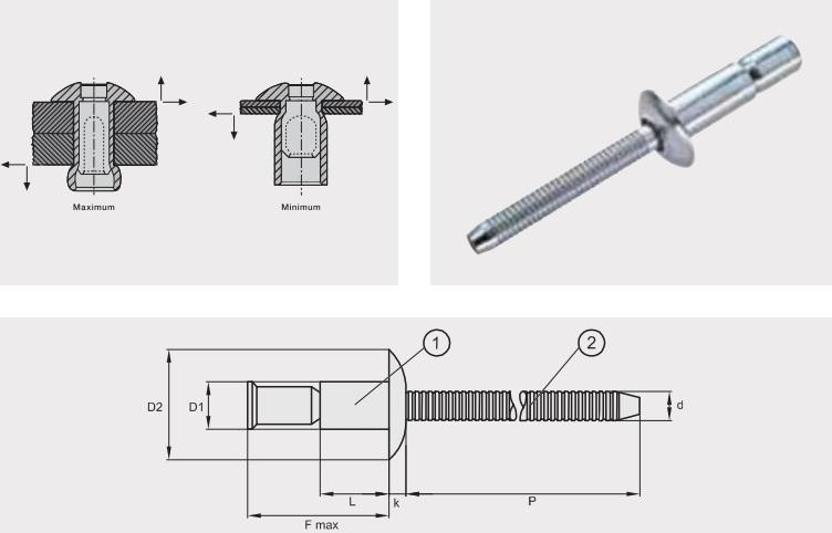 Заклепка отрывная усиленная M-LOCK; Материал: алюминий / алюминий; Головка: плоская