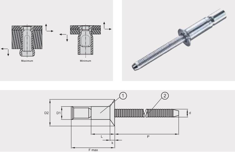 Заклепка отрывная усиленная M-LOCK; Материал: алюминий / алюминий; Головка: потай