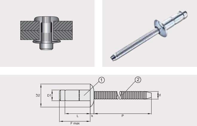 Заклепка отрывная усиленная PREMIUM-LOCK; Материал: алюминий / алюминий; Головка: плоская