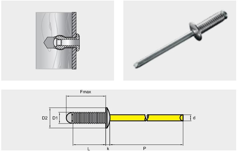 Заклепка отрывная рифленая RILLI, материал: алюминий / сталь